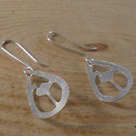 Sterling Silver Pierced Flamingo Teardrop Earrings