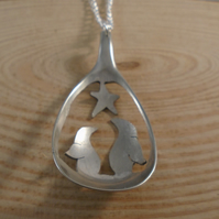 Upcycled Silver Plated Pierced Penguin Spoon Necklace SPN111802