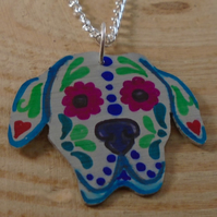 Anodised Aluminium Sugar Skull Great Dane Necklace AAN111829