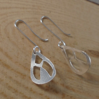 Sterling Silver Pierced Whale Tail Drop Dangle Earrings
