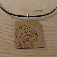 Anodised Aluminium Square Mandala Necklace AAN111813