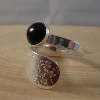 Sterling Silver Upcycled Bright Spoon Handle Ring with Onyx Cabochon