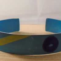 Anodised Aluminium Blue Pattern Bangle AABA111809