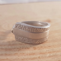Upcycled Silver Plated Butterfly Spoon Handle Ring SPR081825