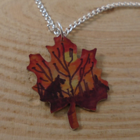 Anodised Aluminium Dog Leaf Necklace AAN111814