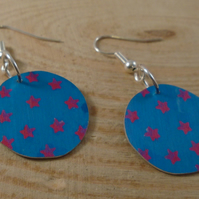 Anodised Aluminium Blue and Pink Star Circular Drop Dangle Earrings AAE111806