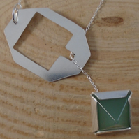 Sterling Silver Aventurine Pull Through Necklace