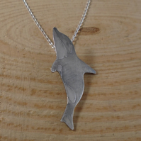 Sterling Silver Etched Killer Whale Necklace