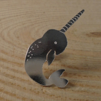 Sterling Silver Narwhal Stud Pin Brooch