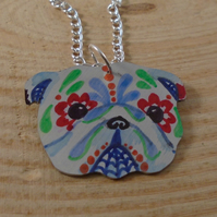 Anodised Aluminium Sugar Skull Bull Dog Necklace AAN111819