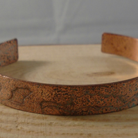 Copper Etched Aged Bangle
