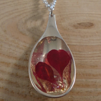 Upcycled Silver Plated Red Leaf Spoon Necklace SPN111810