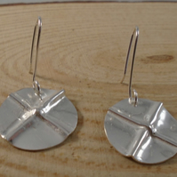 Sterling Silver Fold Formed Cross Drop Dangle Earrings