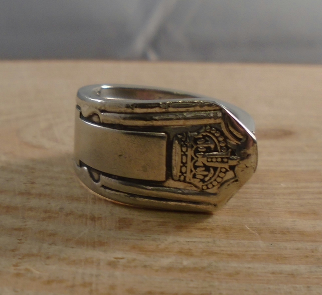 Upcycled Silver Plated Crown Spoon Handle Ring SPR111804