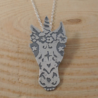 Sterling Silver Etched Sugar Skull Unicorn Necklace