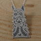 Sterling Silver Etched Sugar Skull Llama Necklace
