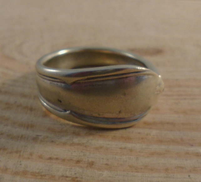 Upcycled Silver Plated Pointy Gothic Spoon Handle Ring SPR041901