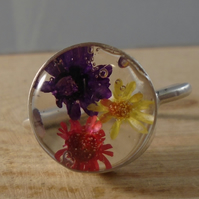 Sterling Silver Flower Resin Adjustable Ring