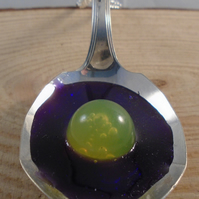 Upcycled Silver Plated Yellow Ball Fruit Spoon Necklace SPN041903