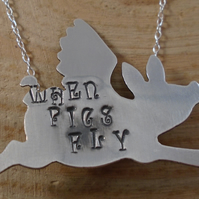 Sterling Silver Stamped 'Pigs Will Fly' Flying Pig Necklace