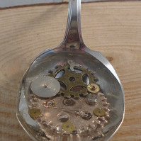 Upcycled Silver Plated Cog Spoon Necklace SPN041905