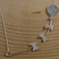 Sterling Silver Stamped 'Just Let Go' Balloon Necklace