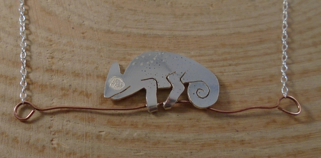 Sterling Silver and Copper Chameleon Necklace