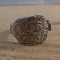 Upcycled Silver Plated Etched Swirl Spoon Handle Ring SPR041909
