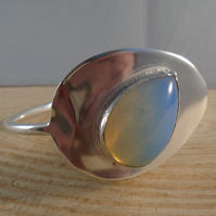 Sterling Silver Upcycled Dessert Spoon Bangle with Teardrop Opalite
