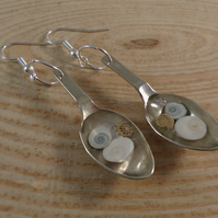Upcycled Silver Plated Sugar Tong Spoon Shells in Resin Drop Earrings SPE051901