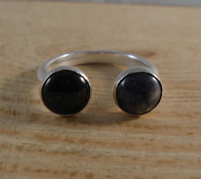 Sterling Silver Blue Goldstone and Sodalite Adjustable Ring