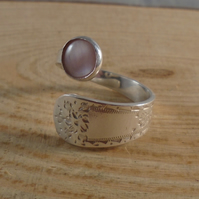 Sterling Silver Upcycled Bright Spoon Handle Ring with Pink Mother Of Pearl