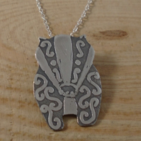 Sterling Silver Etched Swirl Badger Necklace