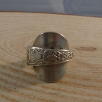 Upcycled Silver Plates Shield Wrap Spoon Ring SPR051905