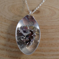 Upcycled Sterling Silver Spoon Necklace with Bismuth