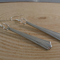 Upcycled Silver Plated Thirds Sugar Tong Handle Drop Dangle Earrings SPE051921