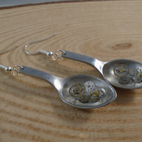 Upcycled Stainless Steel Cog Sugar Tong Spoon Drop Earrings SPE061901