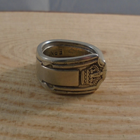 Upcycled Silver Plated Crown Spoon Handle Ring SPR051908