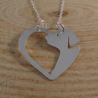 Sterling Silver Dog Heart Necklace