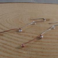 Sterling Silver and Copper Double Ball Drop Dangle Earrings