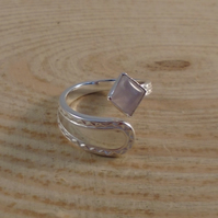 Upcycled Sterling Silver Zig Zag Spoon Handle Ring with Rose Quartz