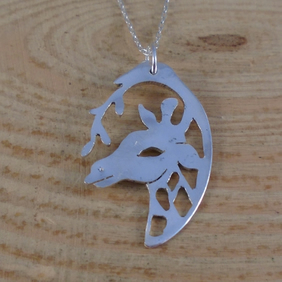Upcycled Sterling Silver Pierced Giraffe Spoon Necklace