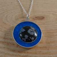 Sterling Silver Snowflake Obsidian and Glow in the Dark Inlay Necklace