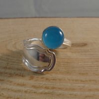Sterling Silver Upcycled Blue Chalcedony Dubarry Spoon Handle Ring