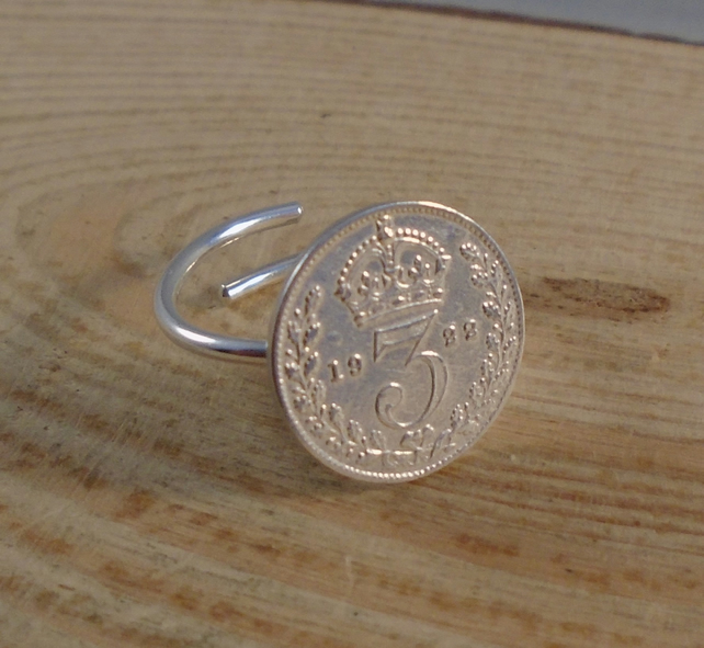 Upcycled Sterling Silver Threepence Adjustable Ring