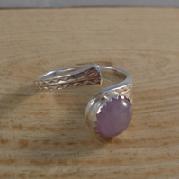 Upcycled Sterling Silver Lavender Amethyst Zig Zag Spoon Handle Ring