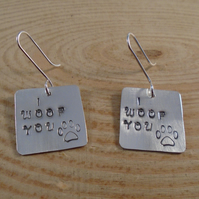 Sterling Silver Stamped 'I Woof You' Drop Dangle Earrings
