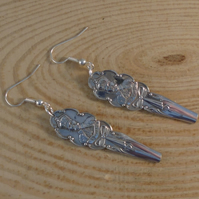 Upcycled Silver Plated King George Sugar Tong Handle Earrings SPE061921