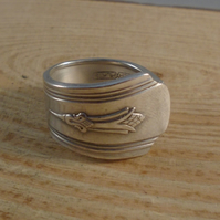 Upcycled Silver Plated Corn Spoon Handle Ring SPR061907