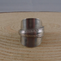 Upcycled Silver Plated Fleur Wrap Spoon Ring SPR091904